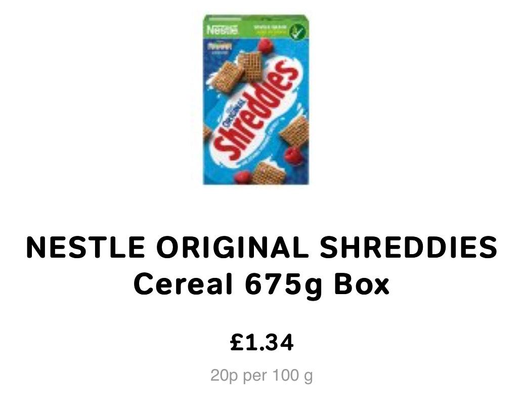 Nestle Shreddies Original Cereal [675G] - £1.34 @Iceland