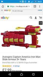 Avengers Iron Man Slide Armour with NERF dart shooter £7.99 @Argos EBay outlet.