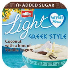 4X 120g Muller Light Fat Free Greek Style Yoghurt : Coconut & Vanilla ( 6 other flavours ) now £1 @ Asda