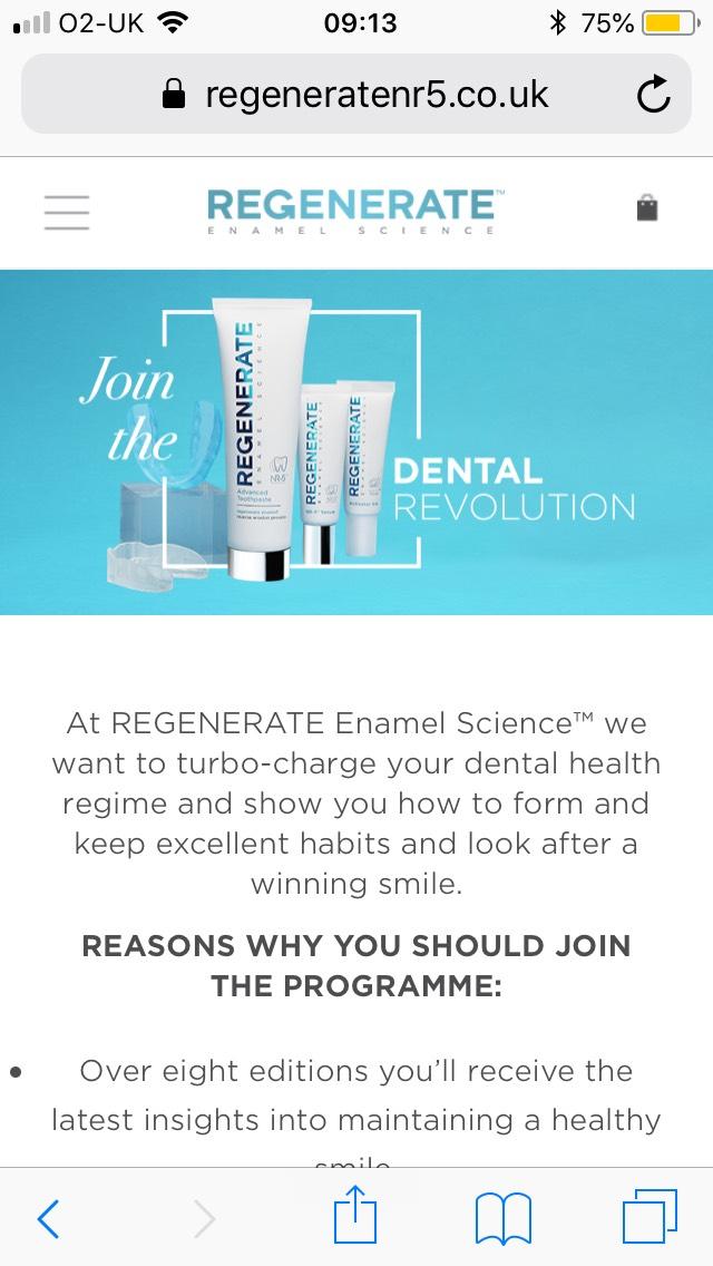 Free travel size Regenerate toothpaste