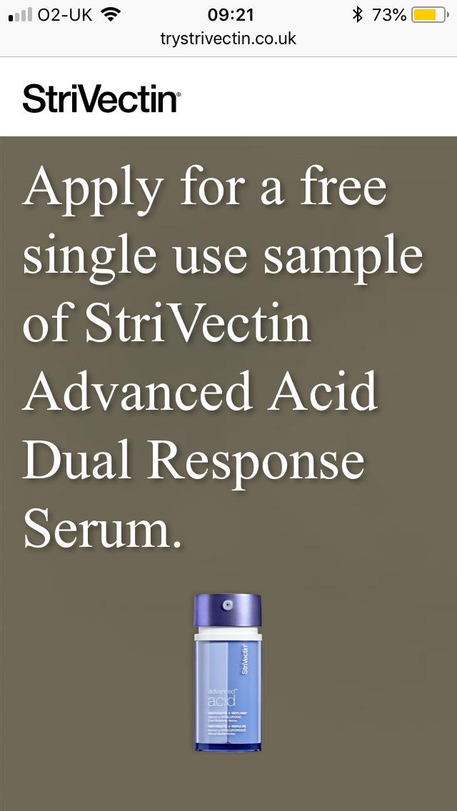 Free single use sample Strivectin serum