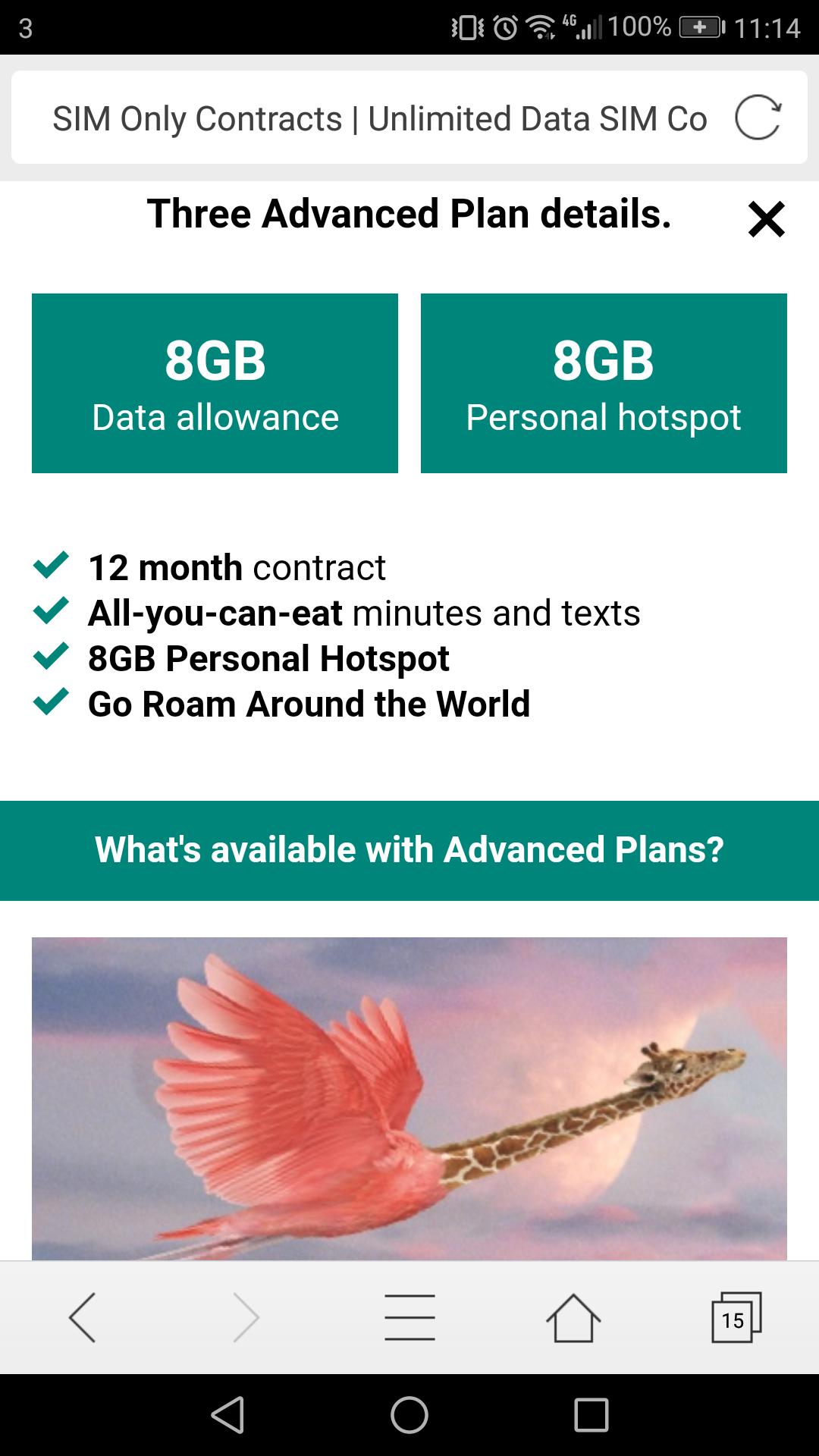 Three sim only 8gb advanced plan £10 p/m 12 months  (retention via we chat)