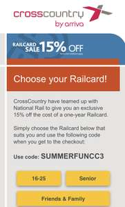 15% off National Railcard @ Arriva XCountry