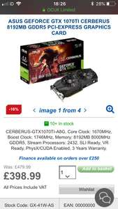 1070ti Cerberus with Backplate £398.99 / £408.89 delivered @ Overclockers