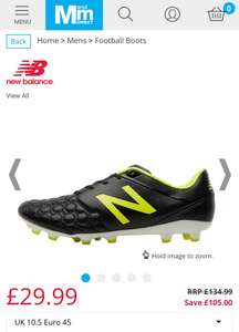 1fbab21d748 MandM Direct New Balance Mens Visaro K Leather FG Football Boots Black  £29.99   £34.98 delivered