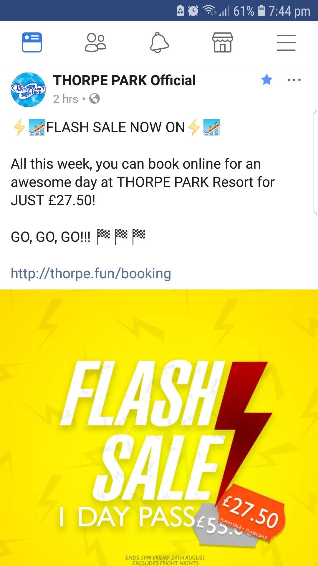 Thorpe Park flash sale - £27.50