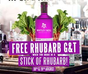 Free Whitley Neill Rhubarb G+T when you take a stick of rhubarb into Greene King pubs 18+19 August