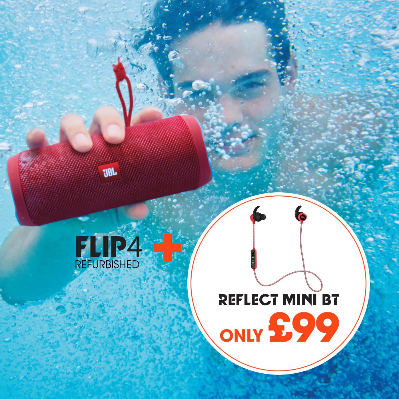 Bluetooth speaker JBL Flip 4 (refurbished) + earphones for £99 or JBL Flip 4 for £67.49