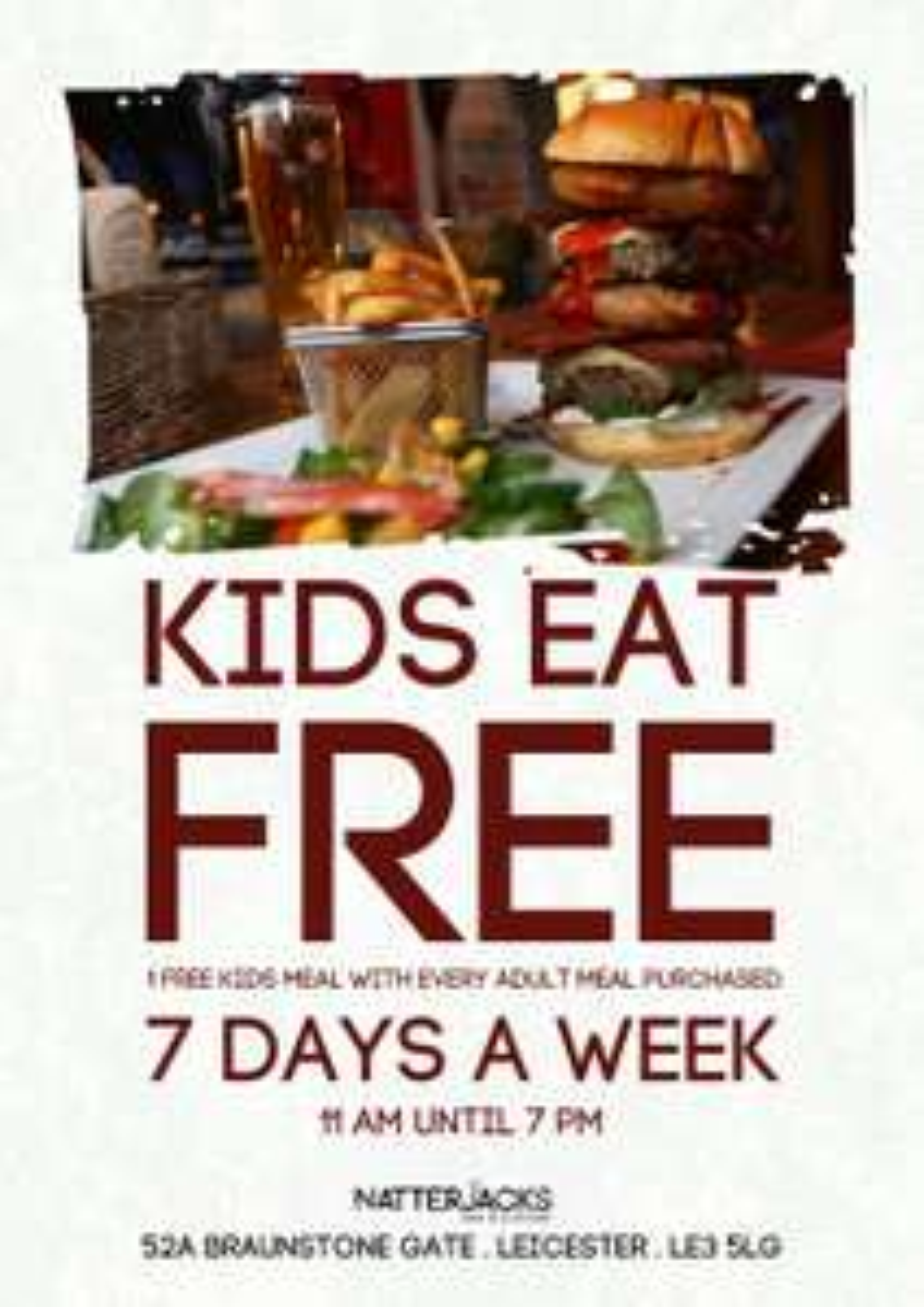 kids eat FREE @ Natterjacks Leicester