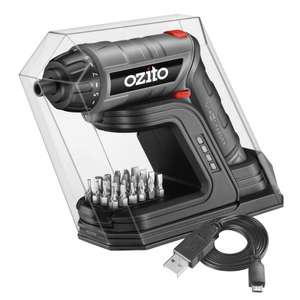 Ozito 3.6V Screwdriver Torch with Charging Base plus 24 Driver Bits for £11.96 @ Homebase