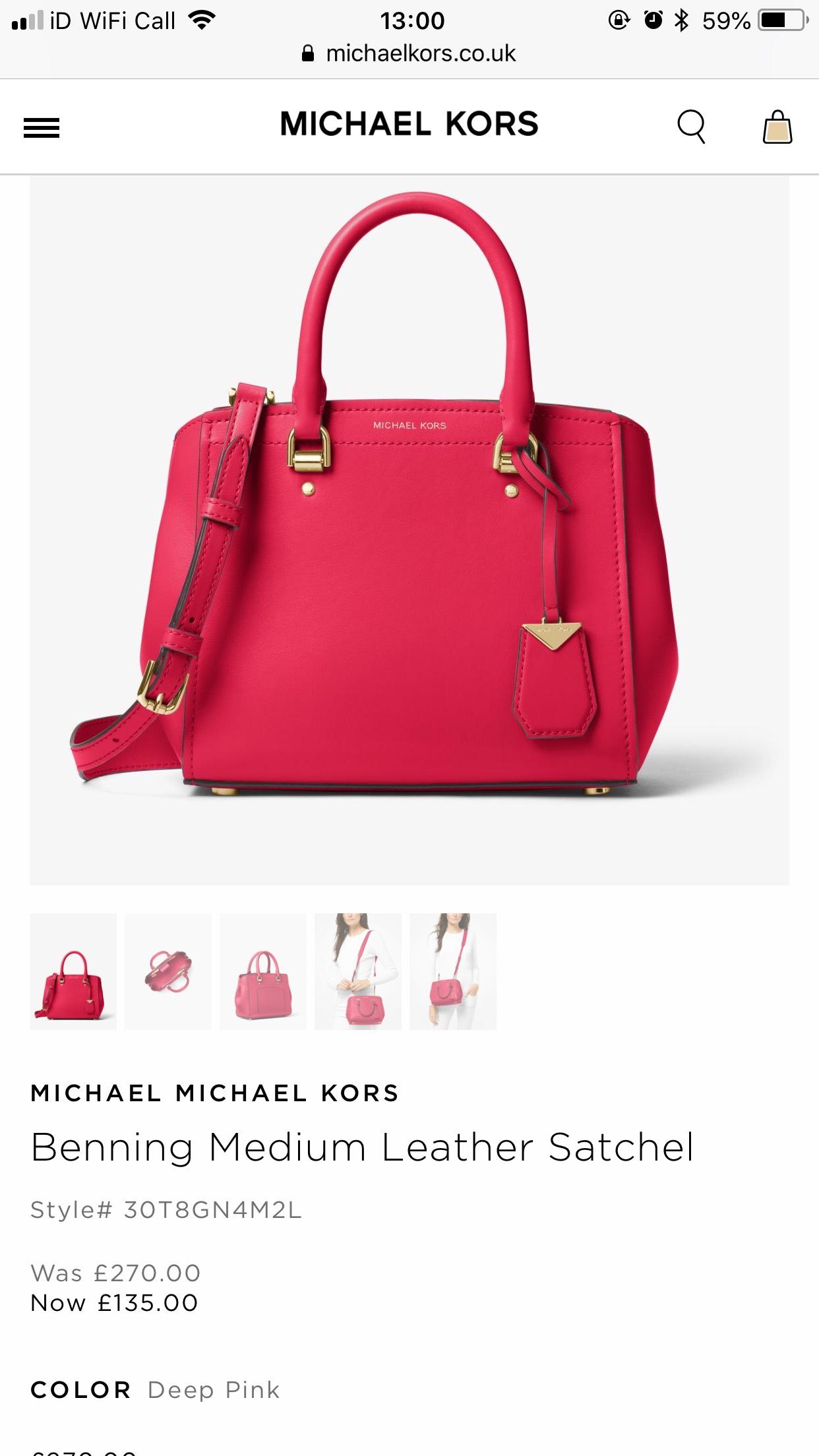 MICHAEL KORS Benning Medium Leather Satchel £135