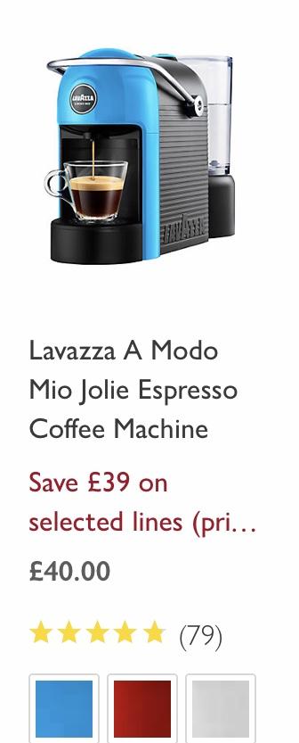 Lavazza A Modo Mio Jolie coffee machine £40 @ John Lewis