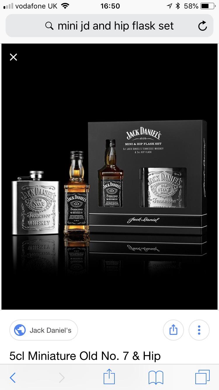 Jack Daniels mini 5cl bottle and hip flask set £2. at Tesco Kidderminster