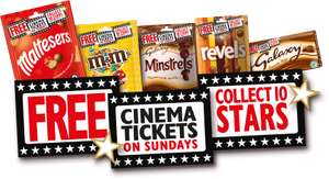 Free Sunday cinema ticket with £3 of chocolate eg Snickers Maltesers Minstrels Milky Way Revels Twix Ticket can be used at Cineworld, Empire, Showcase & more see op for all details