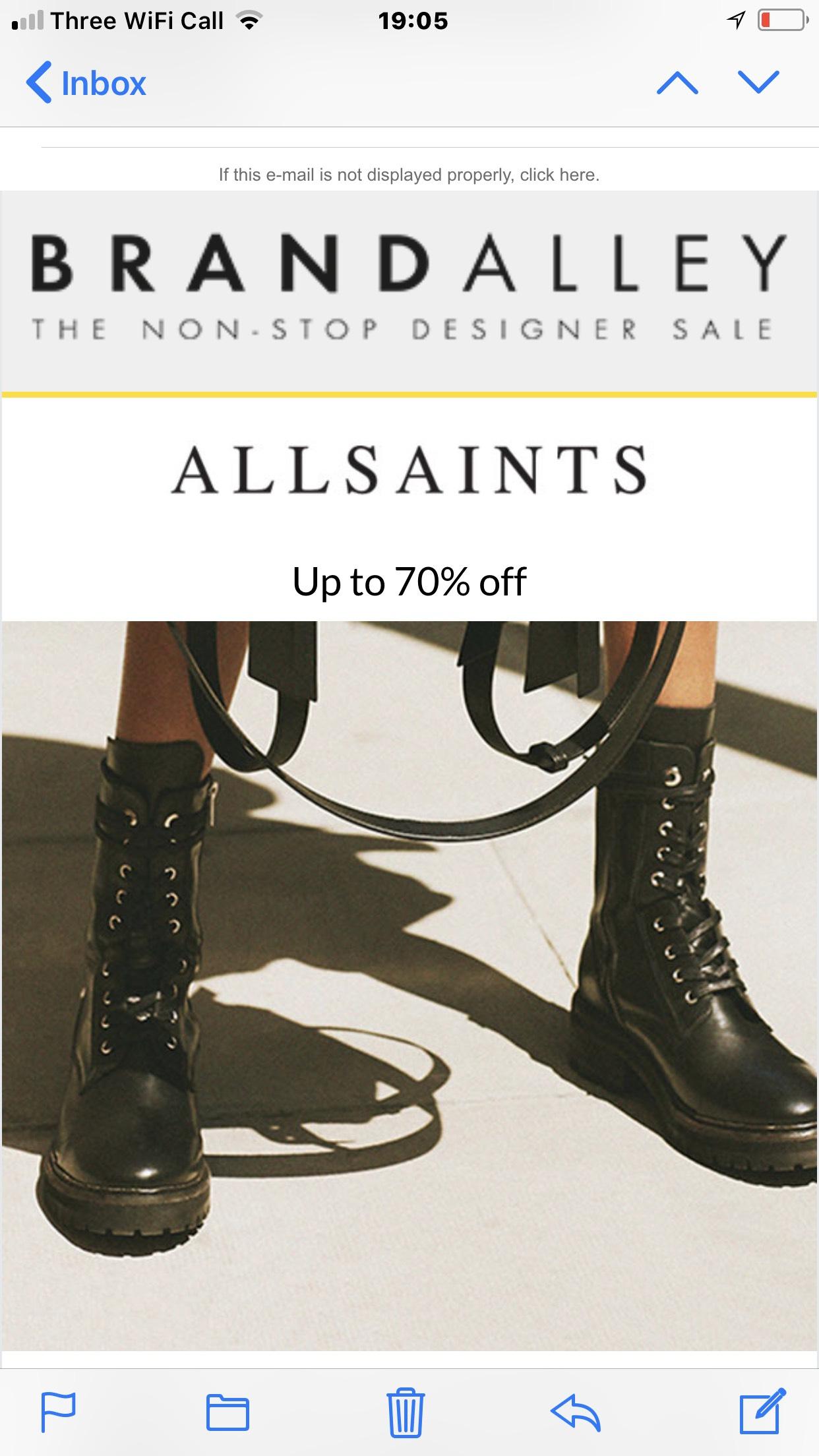 Brandalley 70%off allsaints  on women's footwear