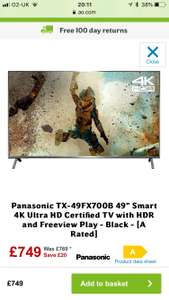 "Panasonic TX-49FX700B 49"" Smart 4K Ultra HD Certified TV with HDR and Freeview Play - Black - [A Rated] at ao.com for £699.99"