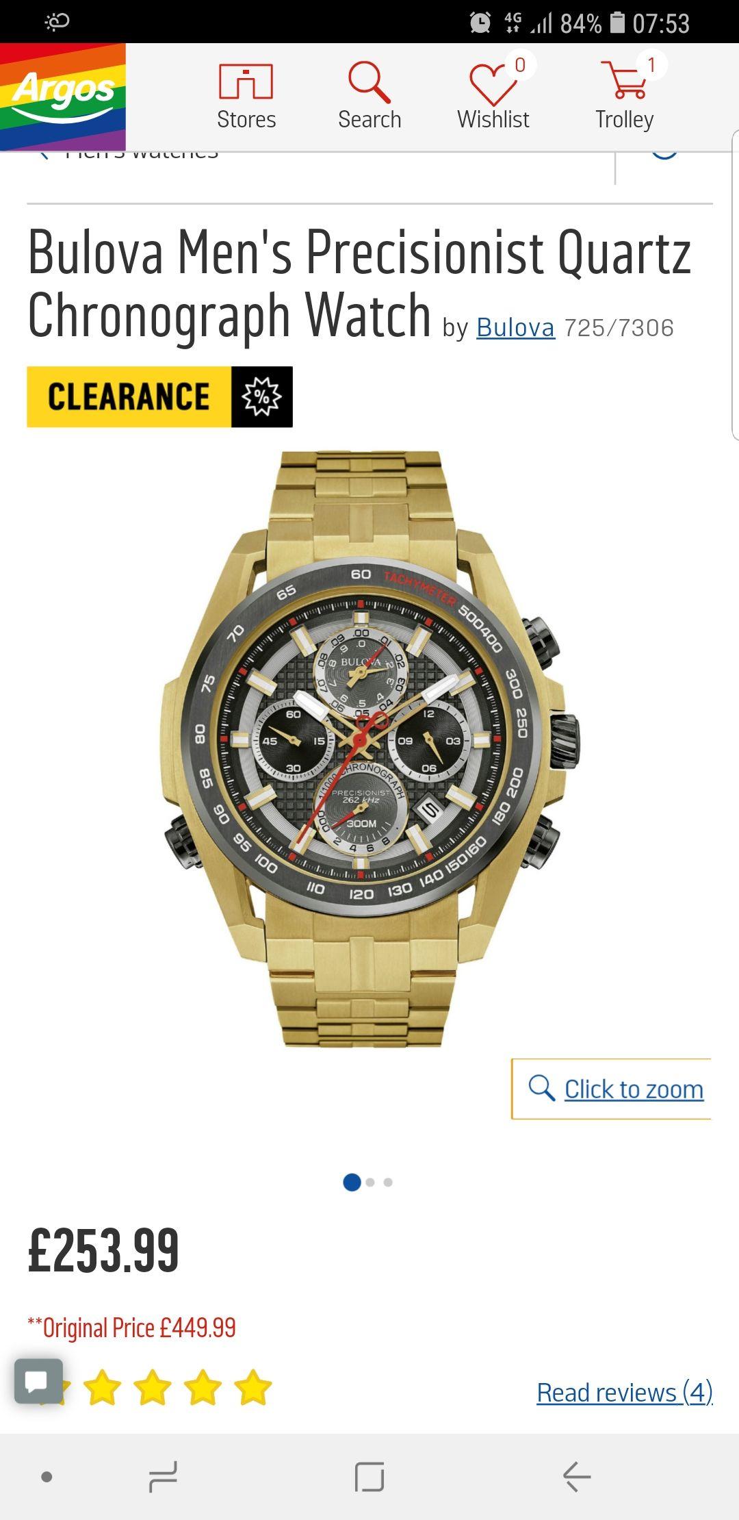 Bulova Men's Precisionist Quartz Chronograph Watch  was  £449.99 now £253.99 @ Argos