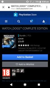 Watch dogs complete edition + Season Pass & More PS4 £9.49 PSN