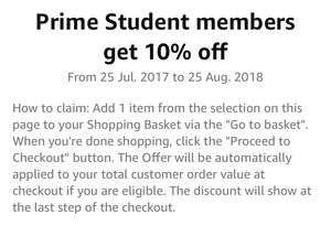 10% off Clothing, Shoes & Accessories for Prime Students