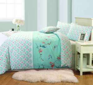 Sophie Birds and Flowers Mint Green Duvet Cover Set - reversible, 100% Cotton From £17 on Ebay FREE P&P