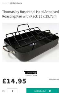 Thomas by Rosenthal Hard Anodised Roasting Pan with Rack 35 x 25.7cm £14.95 @ Millyskitchenstore