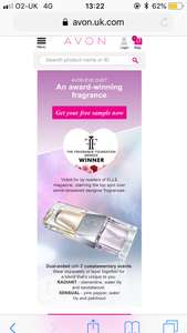 free sample of Avon Eve Duet perfume from Avon