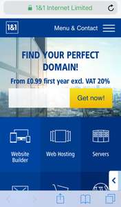 1&1 Free email with domain only £0.99p for the 1st year (then £9.99 for subsequent years)