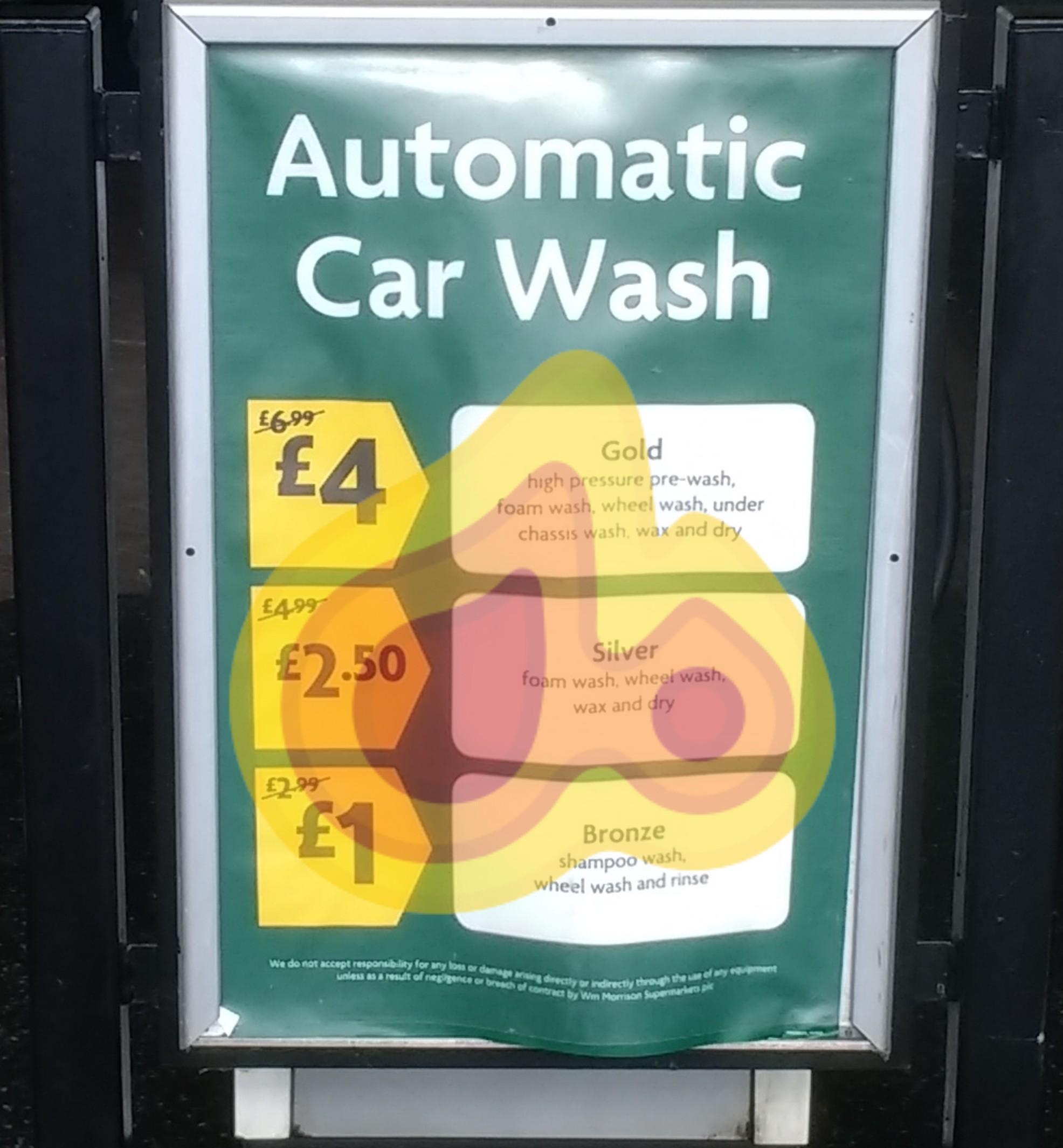 £1 Automatic Car Wash (was £2.99) @ Morrisons