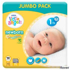 Little Angels Newborn Nappies - mega 70 pack just £2.50 at Asda instore and online (3.6p per nappy)