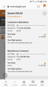 6 Nights For 2 Adults  Barcelona (Flights and Hotel) from Liverpool Airport / December 2018 via EasyJet - £259.30