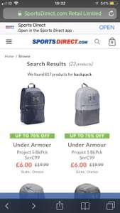 Under Armour Project 5 Backpack @ sportsdirect for £6 (+£4.99 P&P)