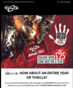 Thorpe Park £25 Annual Pass Direct Link