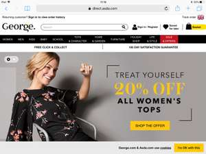 20% off all Women's tops George at Asda