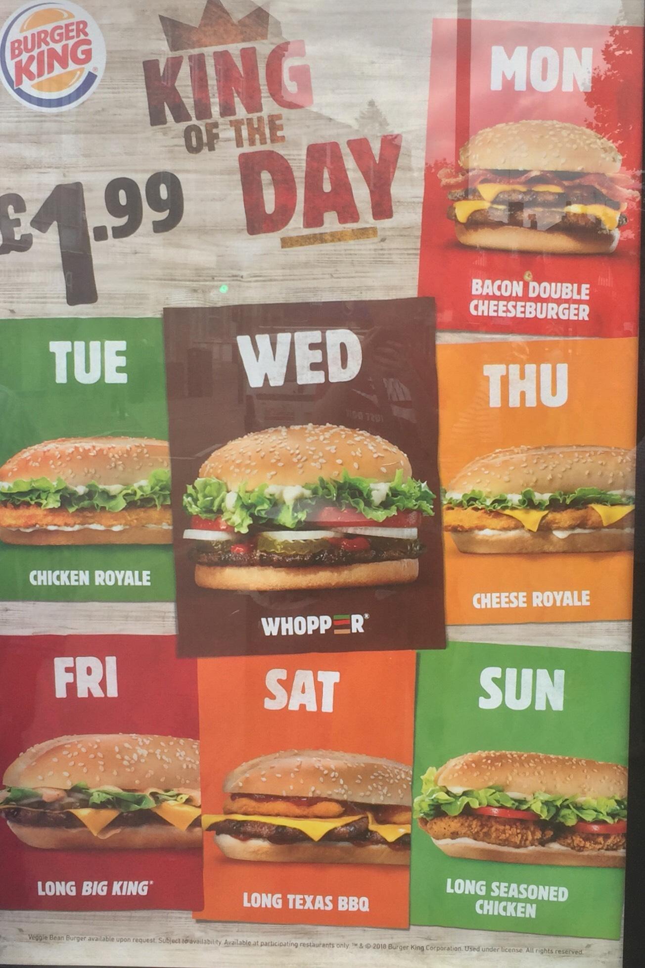 £1.99 King Of The Day at Burger King