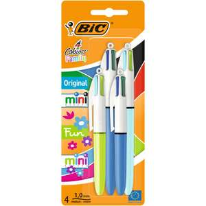 Bic Cristal Grip Ballpoint Pens - Pack of FOUR - just £2.50 C&C at Wilko (more in post)