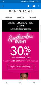 Debenhams Spectacular Event starts online tomorrow at 06.30 and in store Wednesday.