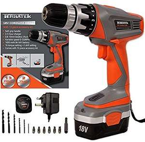 Terratek 18V Cordless Drill Driver, Sensational Electric Screwdriver set complete with 13pc Drill and Bit Set £35.95 Sold by Futura Direct Ltd and Fulfilled by Amazon