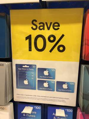 iTunes cards 10% off at Tesco instore and online