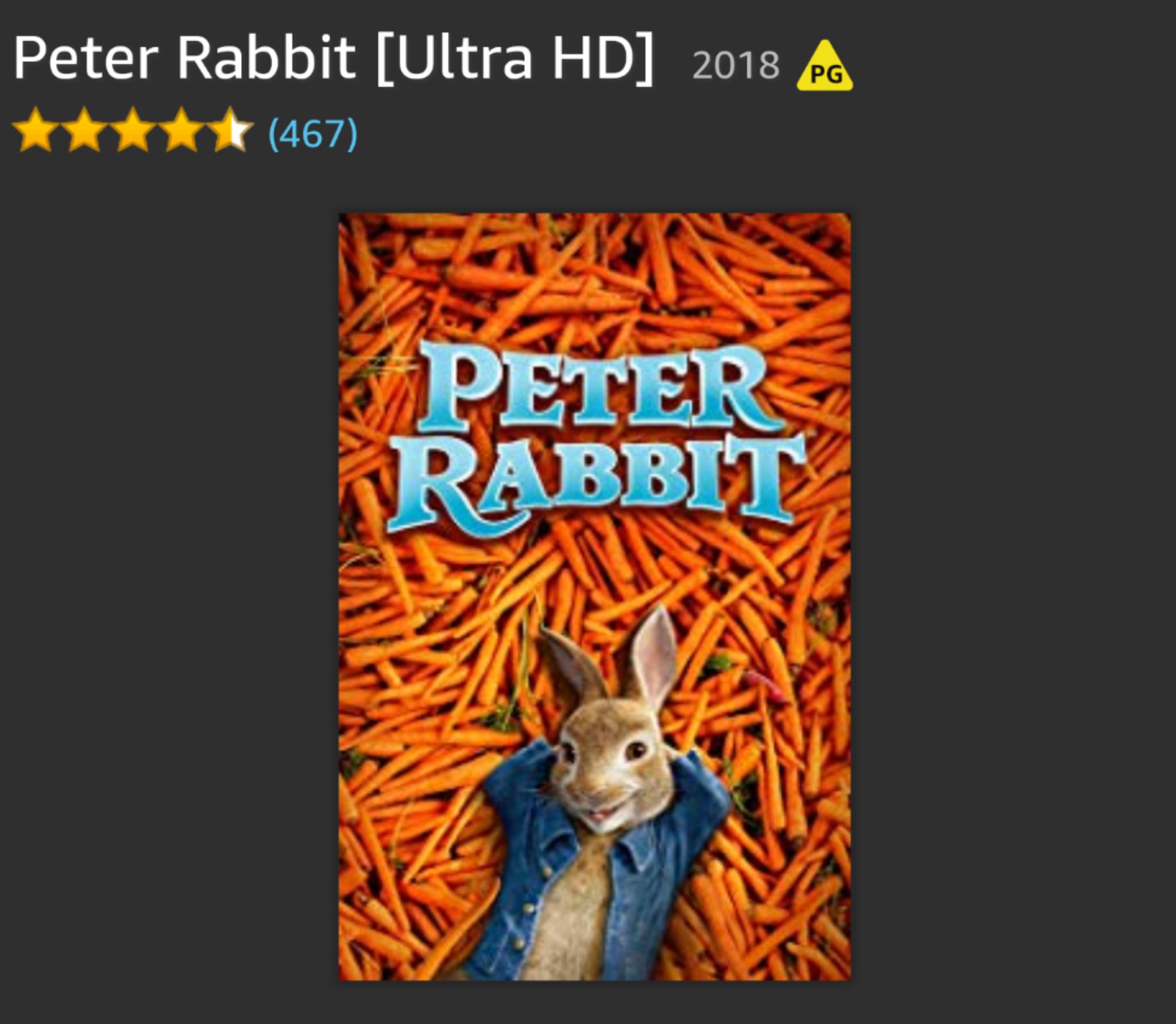 Peter Rabbit Ultra HD (4K) cheaper than the HD version £6.99 @ Amazon