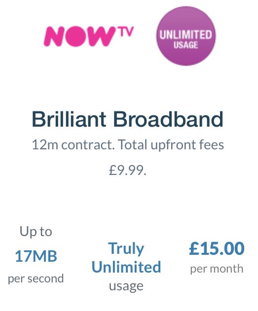 Now Broadband £15 x 12m, £9.99 router, £189.99 (TCB/Quidco £75!!)