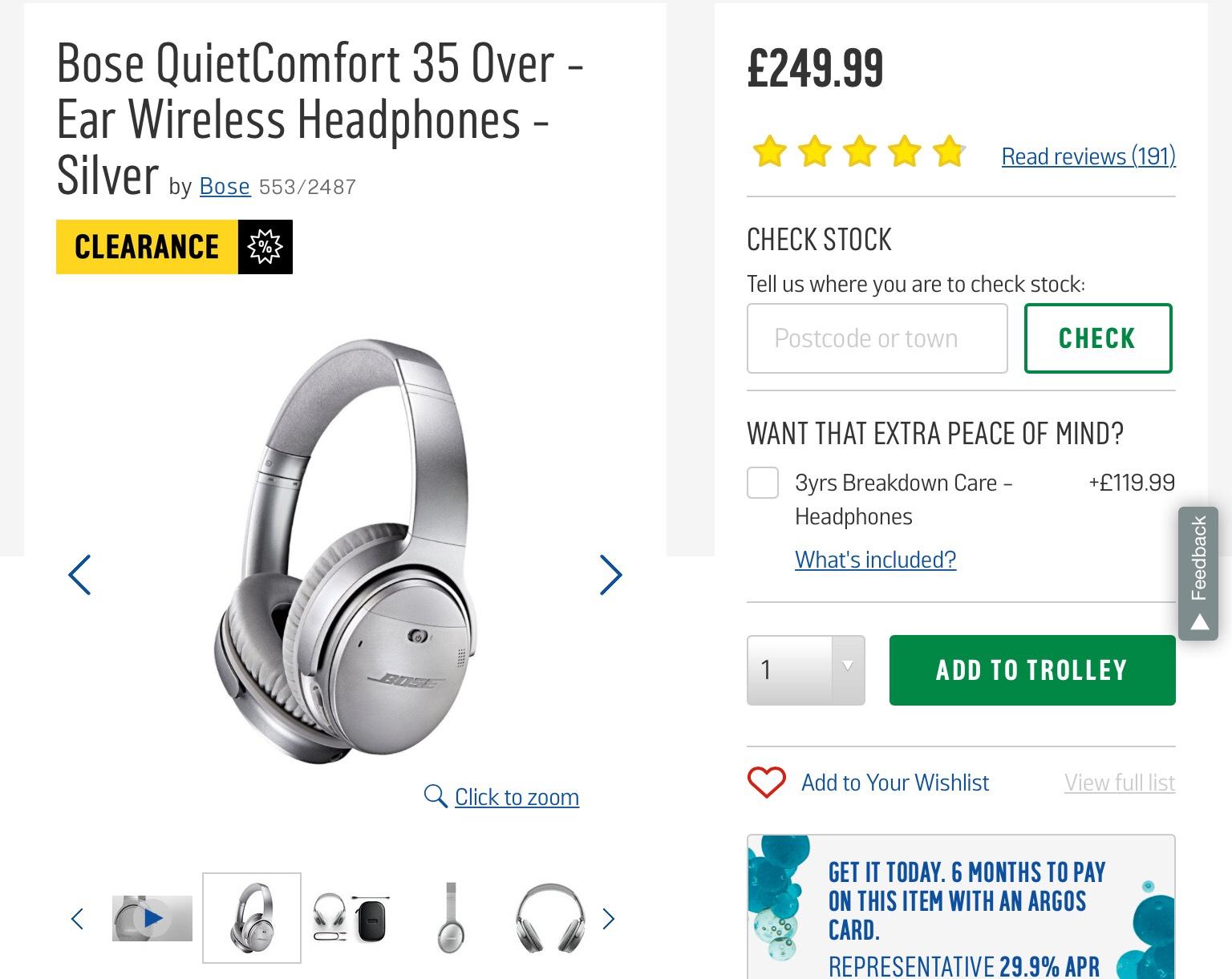 Bose QuietComfort 35 Over - Ear Wireless Headphones - Silver £249.99 @ Argos