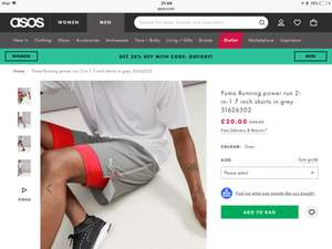 Puma Running power run 2-in-1 7 inch shorts in grey £20 from ASOS.com +£3 delivery or spend over £25 for free delivery
