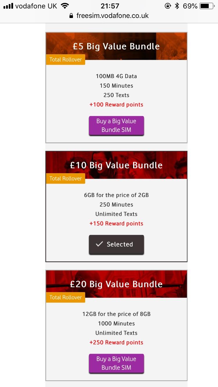 Vodafone payg 3x data on Big value bundles £10 and above