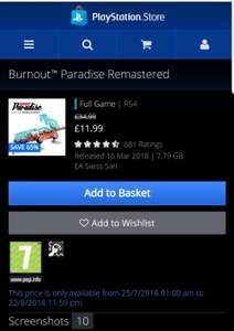 Burnout™ Paradise Remastered £11.99 @ PS store