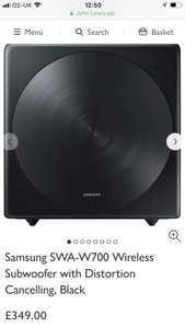 Samsung SWA-W700 Wireless Subwoofer with Distortion Cancelling, Black £349 John Lewis  & Partners