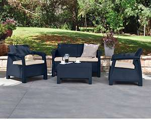 Keter Corfu Outdoor 4 Seater Rattan Sofa Furniture Set with Accent Table – Graphite with Cream Cushions