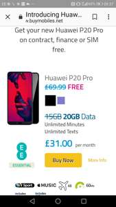 Huawei p20 pro. No upfront cost. 20GB for £31 a month on EE at BuyMobiles