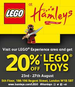 20% off LEGO at hamley's in regent steet, london : 23rd to 27th august, 2018