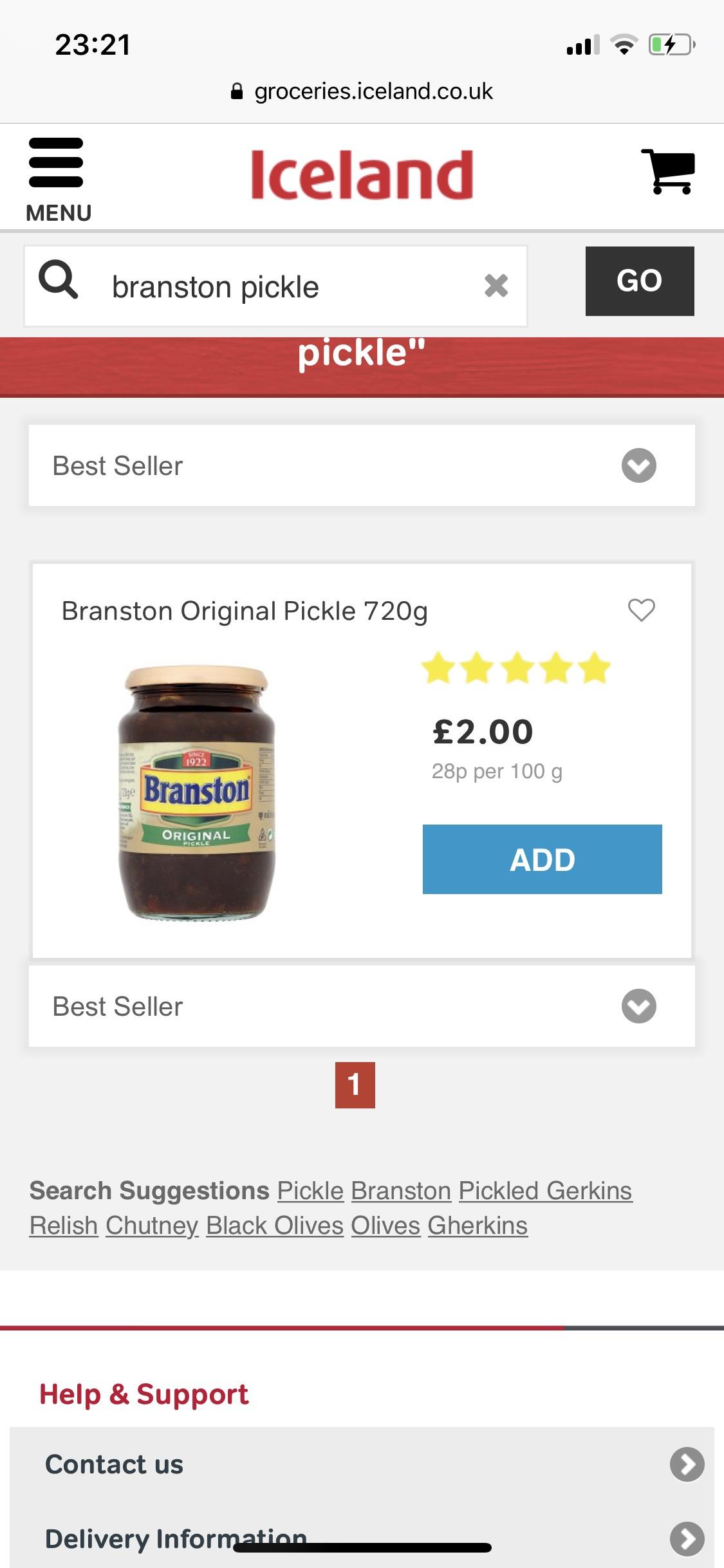 Branston original pickle 720g £2 Iceland