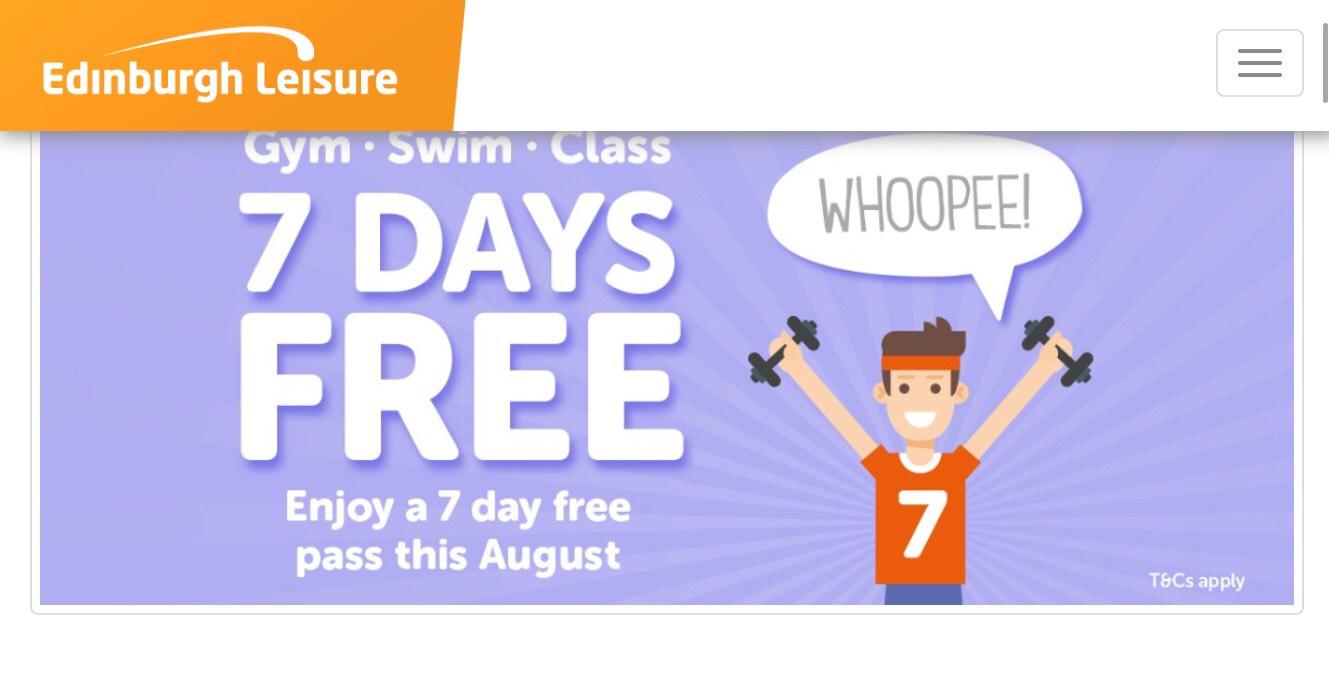 Free 7 day Pass - Gym, Swim, fitness class @ Edinburgh Leisure